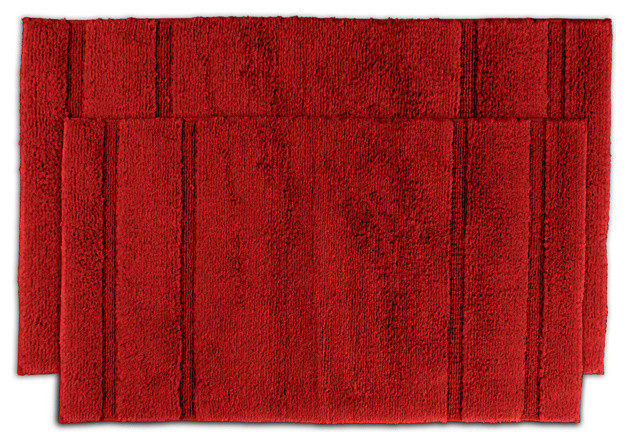 tranquility cotton sunset red 2 piece bath rug set contemporary bath mats by. Black Bedroom Furniture Sets. Home Design Ideas