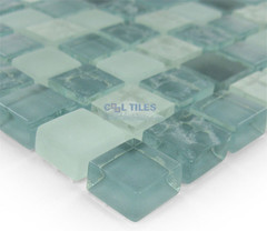 """Distinctive Glass Tile - Textured Mosaic Grayscale 12"""" x 12"""" Mesh Backed Sheet -"""