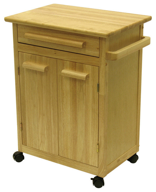 Winsome Wood Kitchen Cart W One Drawer Cabinet In Natural Contemporary Kitchen Islands