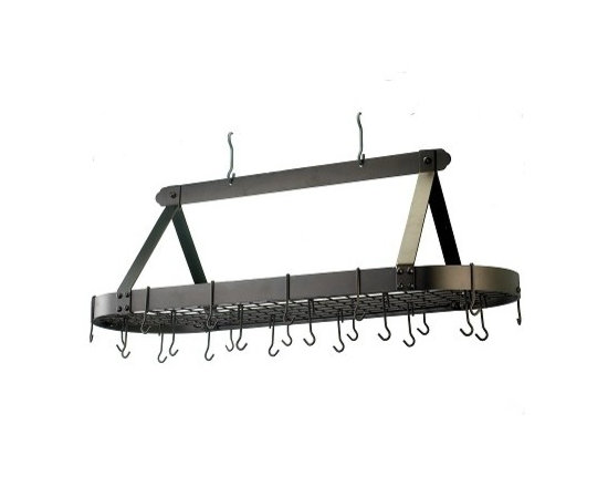 Old Dutch International - Oval Oiled Bronze Pot Rack with Grid & 24 Hooks - Why waste storage space on your pots and pans when you could stock up on other goodies? This refined rack is perfect for a large kitchen. Your utensils and cookware will be easy to get to and you'll have more room for, well, whatever.
