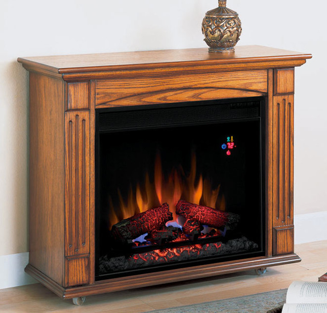 Lancaster Oak Electric Fireplace Roll Away Mantel Package 23rm905 O103 Traditional Indoor