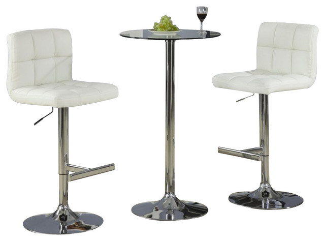 Coaster Table with Tempered Glass Top 3 Piece Pub Set  : transitional dining sets from houzz.com size 640 x 474 jpeg 36kB