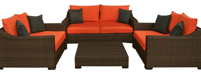 Atlantic Oxford Deep Seating 4-Piece Patio Set in Orange traditional-outdoor-lounge-sets
