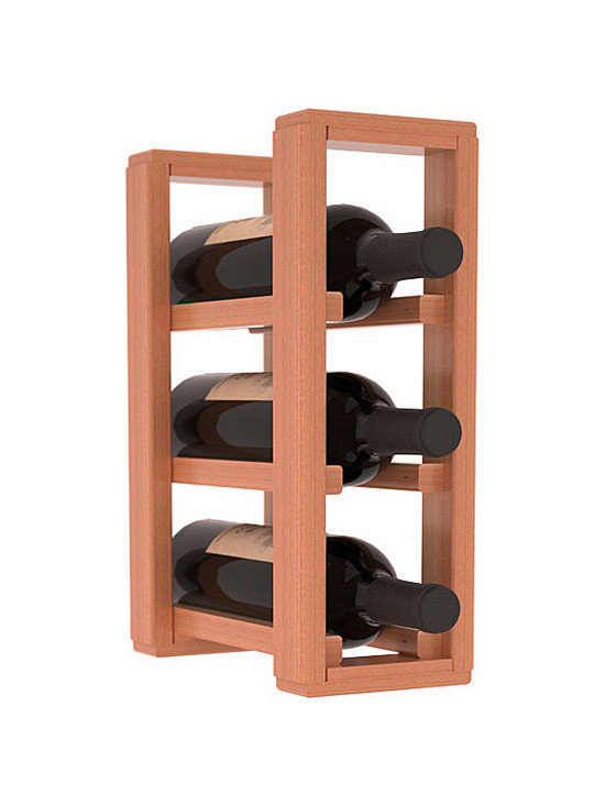 Wine Racks America® - 3 Bottle Counter Top/Pantry Wine Rack in Redwood, Satin Finish - These counter top wine racks are ideal for any pantry or kitchen setting.  These wine racks are also great for maximizing odd-sized/unused storage space.  They are available in furniture grade Ponderosa Pine, or Premium Redwood along with optional 6 stains and satin finish.  With 1-10 columns available, these racks will accommodate most any space!!