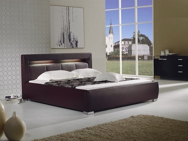modern brown leather bed with built in lighting