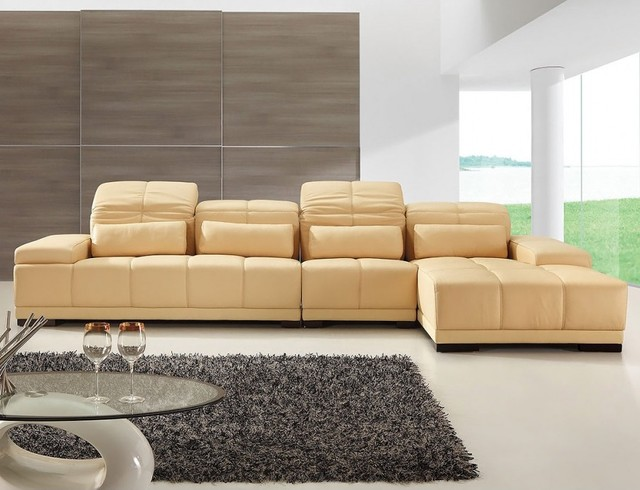 Modern Sectional Sofa in Dark Champagne modern-sectional-sofas