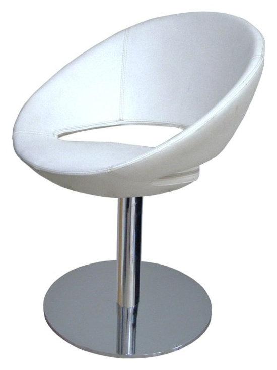 """Crescent Round Chair by sohoConcept - Crescent Round is a unique dining chair with a comfortable upholstered seat and backrest on a chromed steel tube column and solid chromed steel round base. The seat has a steel structure with """"S"""" shape springs for extra flexibility and strength. This steel frame molded by injecting polyurethane foam. Crescent seat is upholstered with a removable zipper enclosed leather, PPM or wool fabric slip cover. The chair is suitable for both residential and commercial use."""