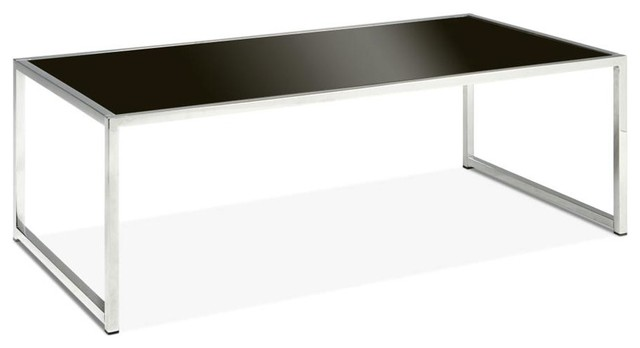 Contemporary Chrome Tone Coffee Table With Tempered Black Glass Top Contemporary Coffee