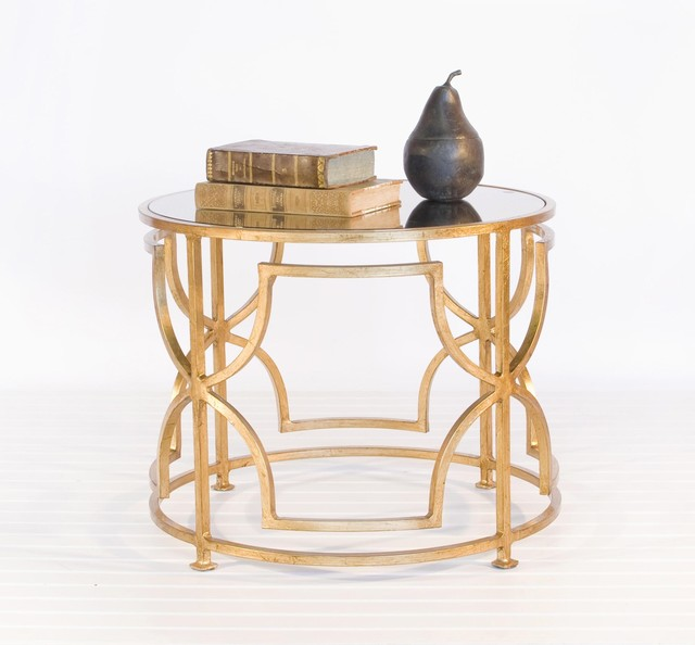 Worlds Away Tess Cocktail Table In Gold Leaf With Antique Mirror Top - Traditional - Side Tables ...