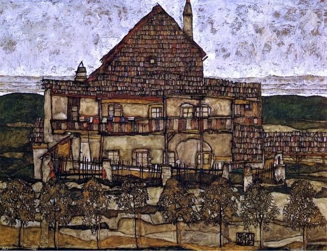 "Egon Schiele House with Shingles - 18"" x 24"" Premium Archival Print traditional-artwork"