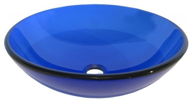 ... Blue Round Glass Vessel Sink, 16.5-Inch Diameter modern-bathroom-sinks