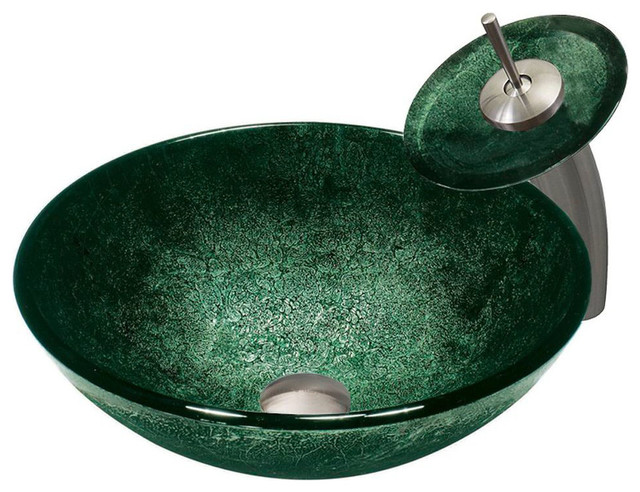 Emerald Glass Sink and Waterfall Faucet Set in Brushed Nickel contemporary-bathroom-sinks