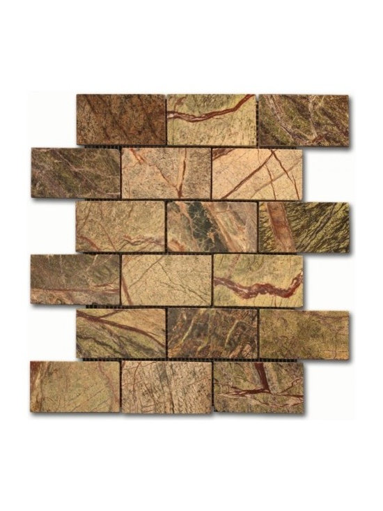 Rain Forest Green 2x4 Brick pattern stone mosaic - 2x4 brick pattern mosaic. Rain Forest Green Polished Marble Mosaic
