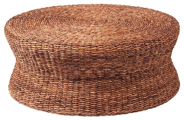 Lanai Woven Round Coffee Table Ottoman tropical coffee tables