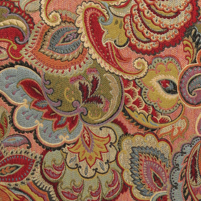 Green Blue Red and Gold Abstract Floral Upholstery  : contemporary upholstery fabric from www.houzz.com size 640 x 640 jpeg 261kB