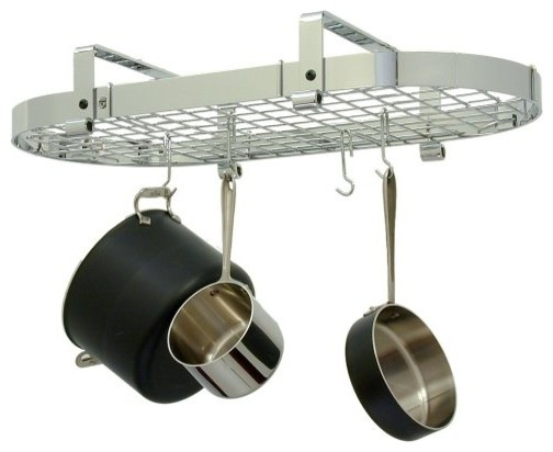 Enclume Low Ceiling Oval Pot Rack Chrome with Grid contemporary-pot-racks-and-accessories