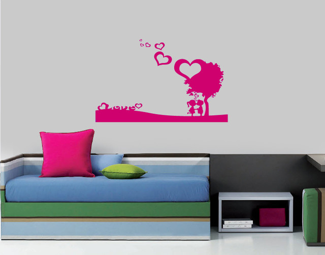 Wall Vinyl Sticker Decals Art Mural Kissing Couple in Love Under Tree Hearts modern-wall-decals