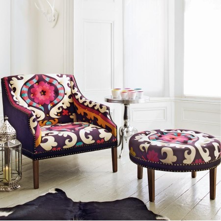Suzani Print Bath Button Back Armchair Contemporary