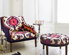 Suzani Print Bath Button Back Armchair contemporary-armchairs-and-accent-chairs