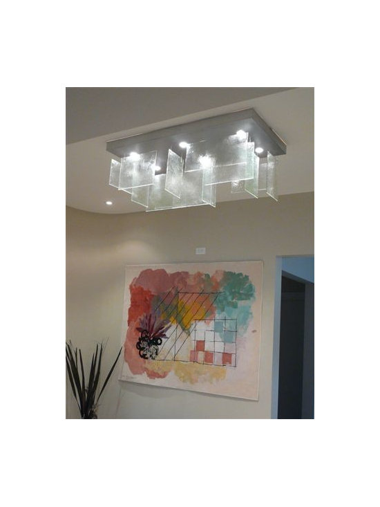 Art glass ceiling pendant - The beautiful fused glass pieces in clear glass , with the artisan texture and waves on each piece of glass, make this chandelier simply breathtaking.