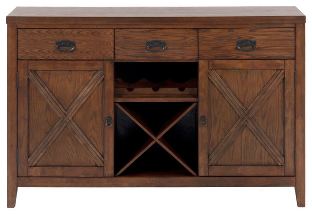 Jofran Cirrus Oak 56x20 Transitional Server w/ 3 Drawers and Removable Wine Rack contemporary-buffets-and-sideboards