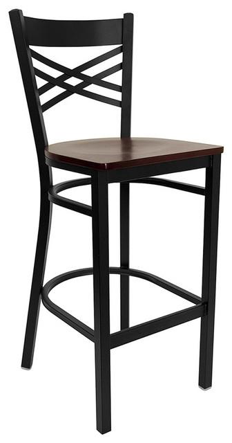 Black ''x'' Back Metal Restaurant Bar Stool with Mahogany Wood Seat transitional-bar-stools-and-counter-stools
