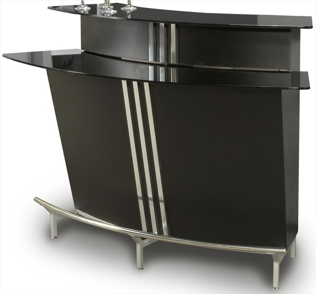 Broadway Black Glass Bar Table in Black - Indoor Pub And Bistro Tables - by Modern Furniture ...