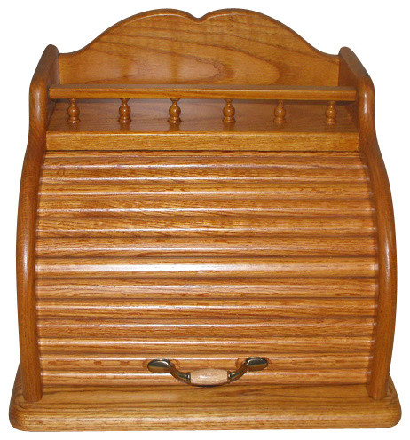 Roll Top Bread Box, Golden Oak - Traditional - Bread Boxes - by American Family Woodworking, Inc