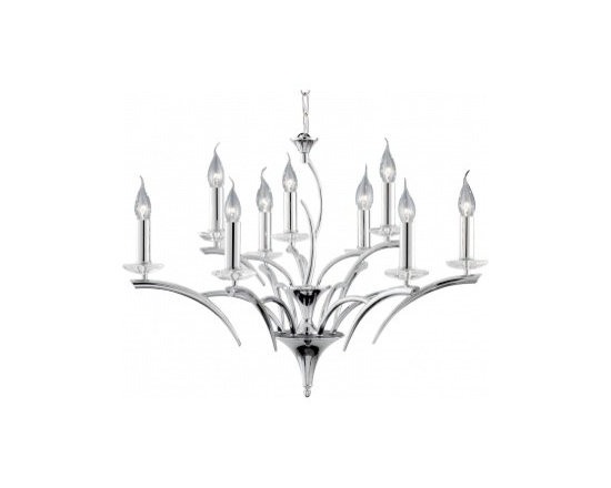 Chichi Furniture - Stunning stag 9 light chrome and crystal chandelier.