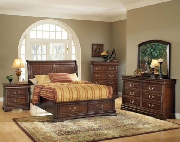 Acme Furniture Hennessy Brown Cherry 5 Piece King Bedroom Set With Storage 1 Traditional