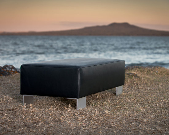Gorgeous Creatures New Zealand - Modern black leather ottoman - This lovely black leather ottoman coffee table (110x55x35cm) was made to measure for our client. The modern aluminium legs give this a contemporary feel.