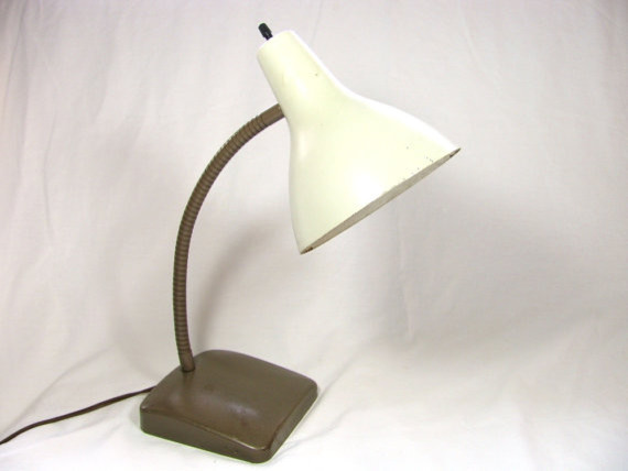 Industrial Brown Lamp with Creamy White  table lamps
