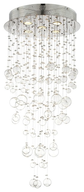 "Chrome and Glass Spheres 39 1/4"" High Halogen Ceiling Light contemporary ceiling lighting"