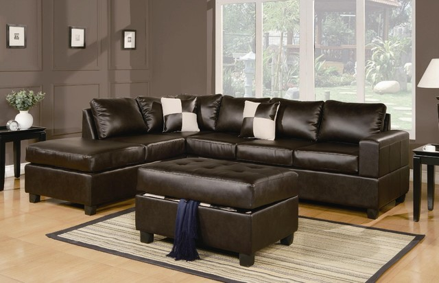 Sacramento Espresso Leather Sectional contemporary sectional sofas