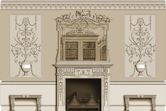 Neoclassical- Federal Style- fireplace mantel and mirror with hand carved panels traditional