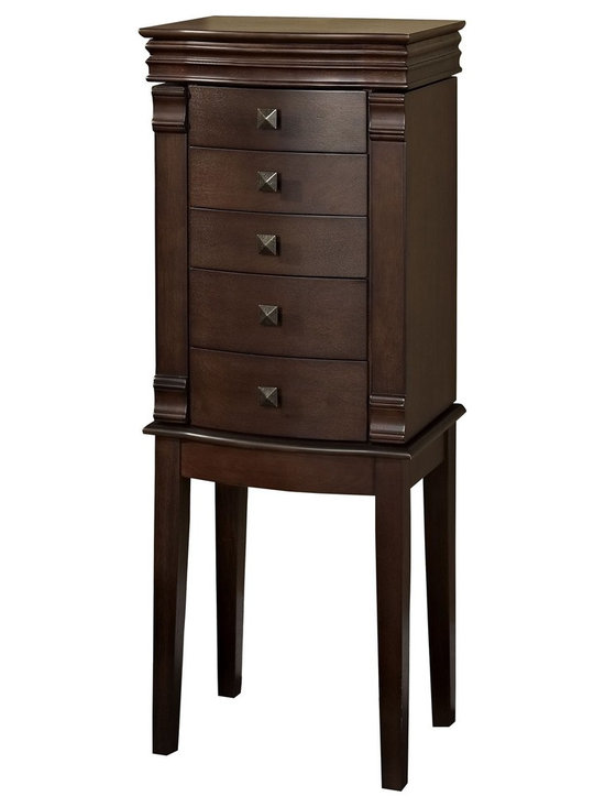 Linon Home Decor - Linon Home Decor Angela Walnut Jewelry Armoire X-U-DK-10-LAW17555 - Traditional in style and design, the Angela Jewelry Armoire is a timeless addition to a bedroom, large closet or dressing area. Each side opens to reveal multiple hooks for necklaces. Multiple drawers lined in felt keep jewelry safe and protected. A flip top reveals storage for rings and other pieces, while a mirror makes accessorizing easy. Finished in a rich Walnut, the armoire is accented by square pulls and straight lined legs.