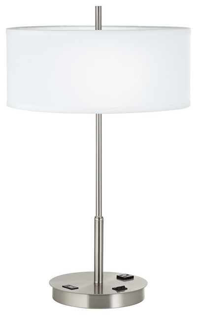 steel usb port table lamp with power outlet contemporary table lamps. Black Bedroom Furniture Sets. Home Design Ideas