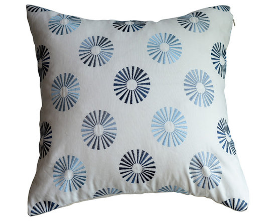 KH Window Fashions, Inc. - Modern Embroidered Dots Pillow in Blues, Without Insert - This modern embroidered circle pillow will complement any decor.
