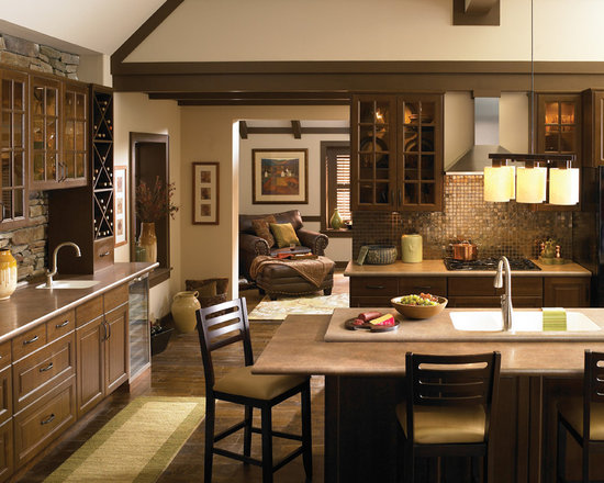 Salentina Grigio & Rosso, Wilsonart HD - The Wilsonart® HD® Salentina designs featured in this kitchen are inspired by soapstone, glazed concrete, and tumbled stone. The Salentina Grigio countertop layers a blend of sienna and grey with accents of gold, while the Salentina Rosso island features a blend of rust, sienna and dark brown with accents of silver.