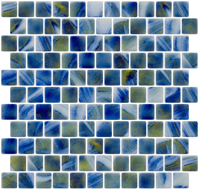 Recycled glass tile backsplash