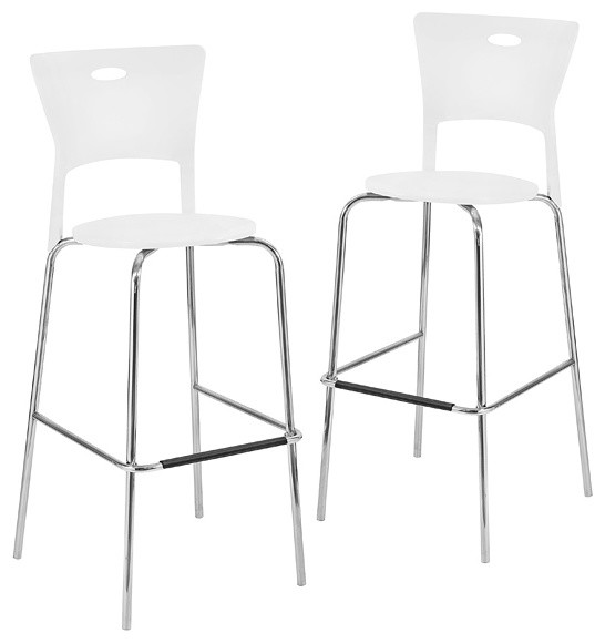 white stackable modern barstools pack of 2