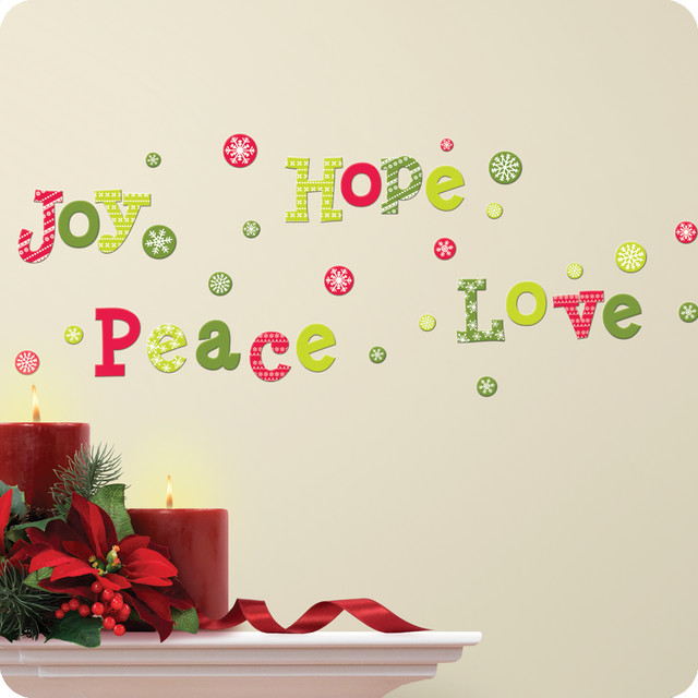 GlitterPuff Hope Love Joy Peace Wall Decals contemporary-wall-decals