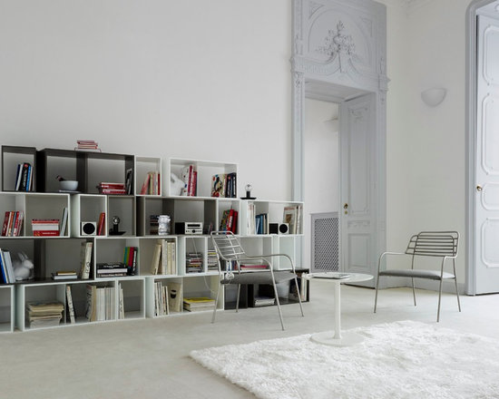Cuts - Ligne Roset - Cuts shelving system, Elysee side table, Resille in/outdoor armchair.