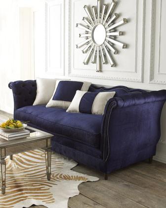 Haute House Horton Navy Velvet Sofa traditional-sofas