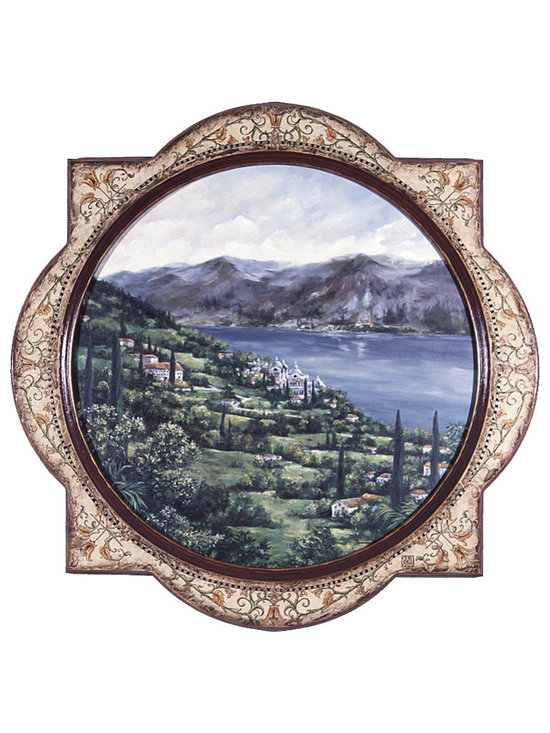 """Lake Como - One Coast Design - An italianate landscape of the Lake Como region of Italys coast, this round original acrylic painting on wood is surrounded by a exquisitely carved quatrifoil frame that is completely hand painting and embellished with gold leaf and Swarovski crystals. Each one is a treasure to be handed down for generations to come. Size shown is 42"""" X 42""""."""
