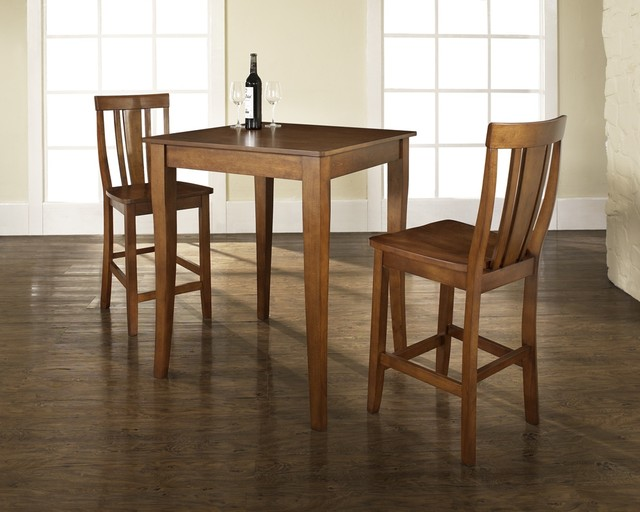 3 Pc Pub Dining Set w Cabriole Leg and Shield contemporary-dining-sets