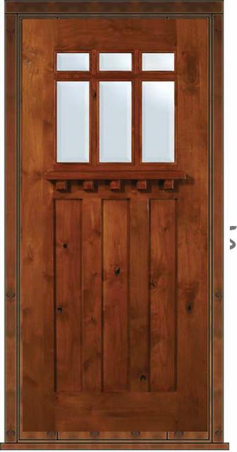 Prehung Single Door 80 Wood Alder Craftsman 3 Panel 6 Lite Tdl Glass Craftsman Front Doors