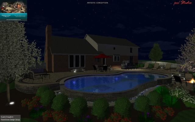 Gunite Pool Design w/Outdoor Living Space traditional-rendering