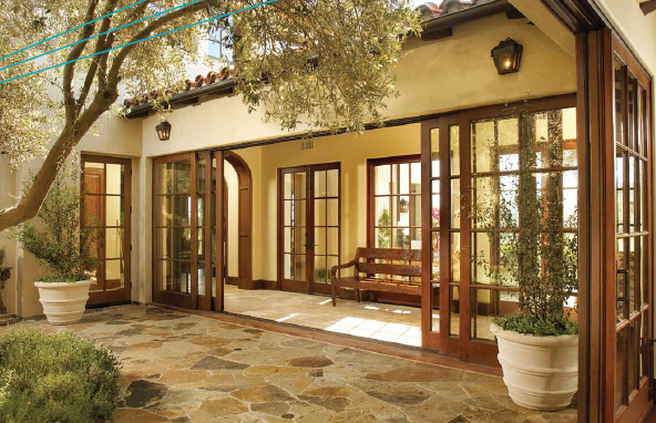 Sliding Glass Wood Exterior Front Door 592 x 382
