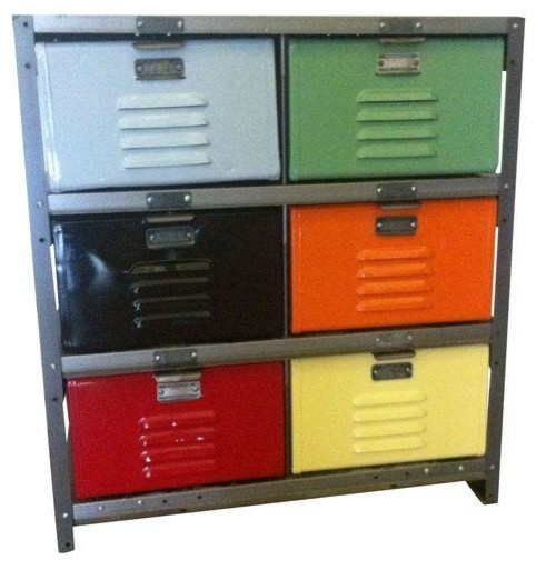 Pre-owned Metal Storage Locker Dresser - Industrial - Dressers